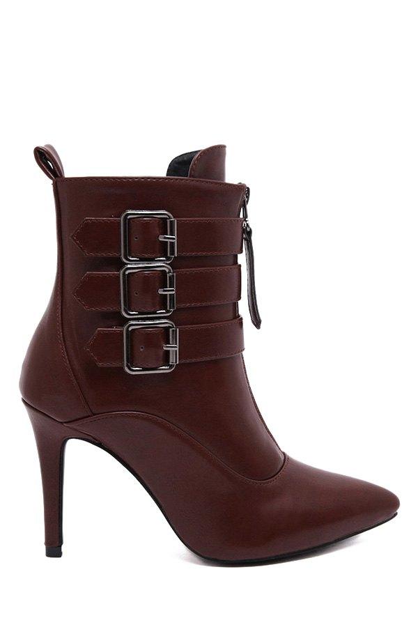 Zipper Metallic Buckles High Heel Boots 156321211