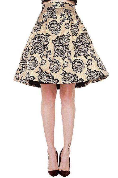 retro floral print high waisted a line skirt chagne
