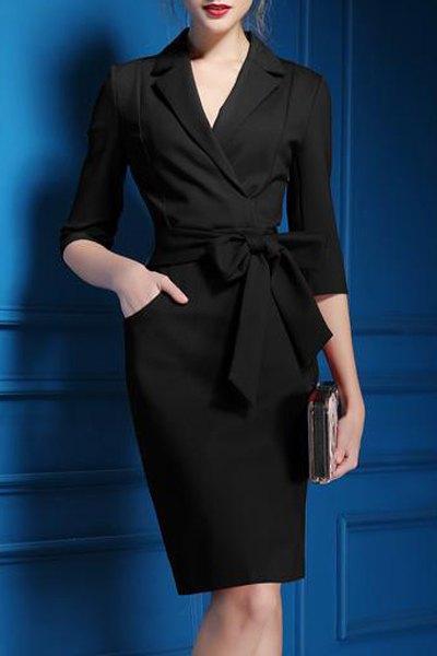 Lapel 3/4 Sleeve Self-Tie Belt Midi Dress