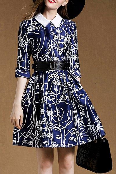 Belted A-Line Blue Dress - BLUE S