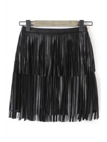 Tassels Faux Leather Skirt