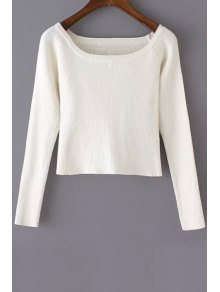 Pure Color Scoop Neck Long Sleeve Jumper - White S