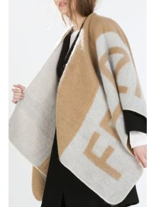 Letter Pattern Cape Cardigan