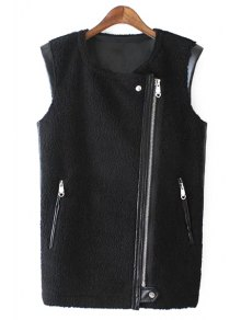PU Leather Round Collar Black Zipper Waistcoat