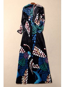Velvet Geometric Print Long Sleeves Plunging Neck Maxi Dress