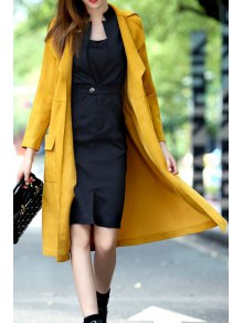 Suede Long Sleeves Turn-Down Collar Solid Color Coat - YELLOW S