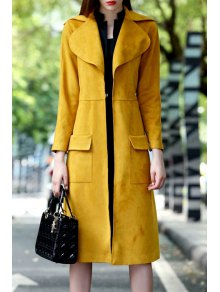 Suede Long Sleeves Turn-Down Collar Solid Color Coat