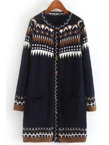 Long Sleeve Jacquard Long Cardigan