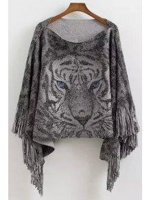 Tiger Pattern Tassels Cape Sweater