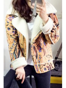 Faux Suede Printed Lapel Collar Short Coat