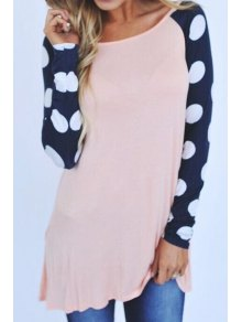 Polka Dot Splicing Long Sleeve T-Shirt - Light Pink Xl