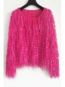 Solid Color Mohair Fringes Long Sleeves Loose-Fitting Jumper