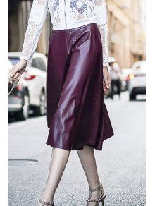 Wine Red PU Leather High Waisted Skirt