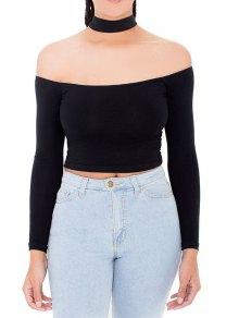 Solid Color Slash Neck Long Sleeves Halter T-Shirt - Black