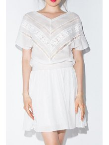 Lace Spliced V-Neck Short Sleeves Mesh Waisted Dress - White S