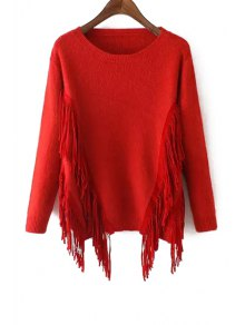 Solid Color Tassels Long Sleeves Pullover Sweater