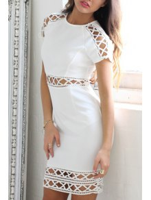 Short Sleeve Hollow Out Bodycon Dress - White S