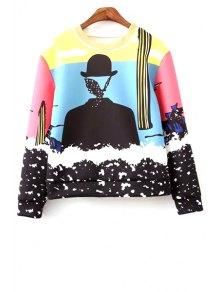 Round Neck Colorful Sweatshirt