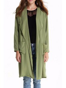 Solid Color Turn-Down Collar Long Sleeves Trench Coat
