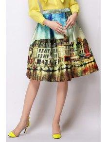 A-Line Scenery Print Midi Skirt