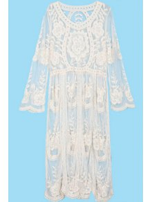 See-Through Embroidery Lace Dress - Off-white