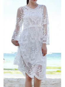 See-Through Embroidery Lace Dress - White