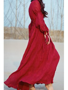 Wine Red Plunging Neck Long Sleeve Maxi Dress