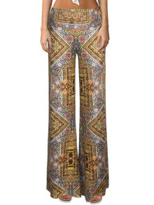 High-Waisted Tribal Pattern Bell Bottoms