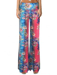 Floral Color Block Flare Leg Pants
