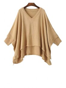 Irregular Hem Solid Color Batwing Sleeves Cape Sweater