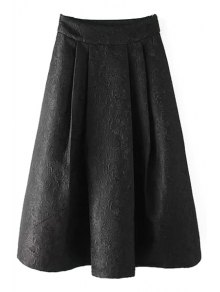 Ball Gown High Waisted Jacquard Solid Color Skirt - Black M