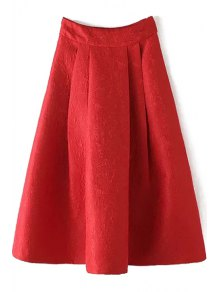 Ball Gown High Waisted Jacquard Solid Color Skirt