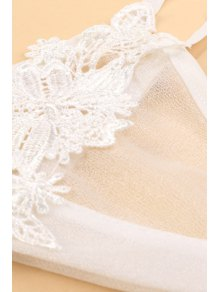 Lace Spliced Cami See-Through Tank Top - WHITE S