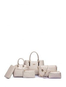 Buy Embossing Solid Color Letter Tote Bag - OFF WHITE