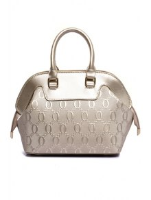 Embossing Solid Color Letter Tote Bag - OFF WHITE