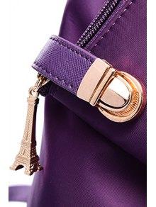 Button Metal Solid Color Satchel - PURPLE