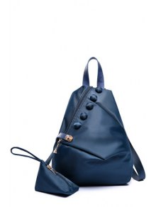 Button Metal Solid Color Satchel - Deep Blue