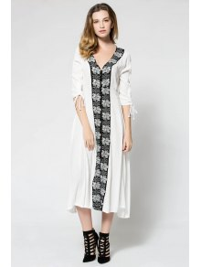 Floral Embroidery 3/4 Sleeve Maxi Dress - White
