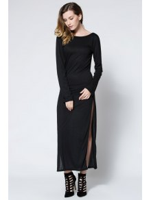 Low Back High Slit Maxi Dress