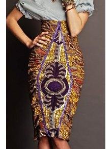 Print High Waisted Bodycon Skirt