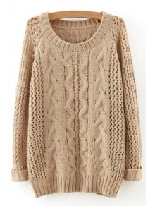Hollow Out Twist Braided Solid Color Sweater - Apricot