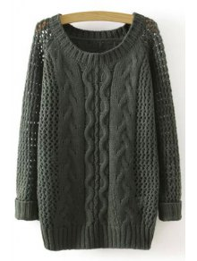 Hollow Out Twist Braided Solid Color Sweater