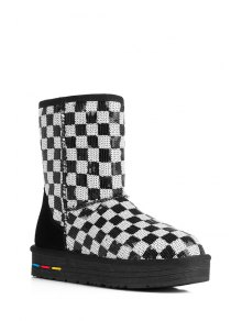 Sequined Color Block Checked Snow Boots