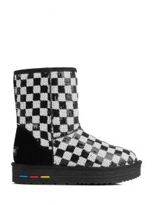 Sequined Color Block Checked Snow Boots - WHITE/BLACK 35