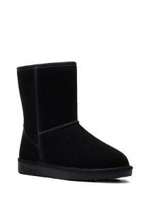 Buy Pure Color Suede Platform Snow Boots 40 BLACK