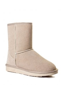 Buy Pure Color Suede Platform Snow Boots 40 OFF WHITE