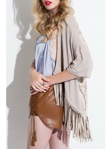 Tassel Hollow Out Suede Coat