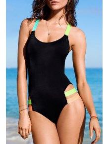 Color Block U Neck One-Piece Swimwear - Black
