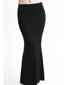 Packet Buttock Fishtail Solid Color Skirt - Black Xl