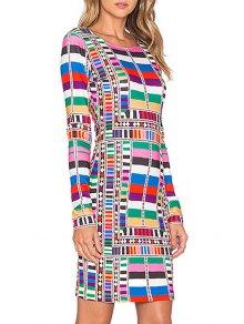 Colorful Geometric Print Bodycon Dress - Xl